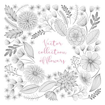 Hand getekende bloemen collectie