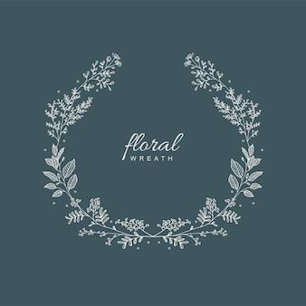 Hand getekende bloemenkrans frame