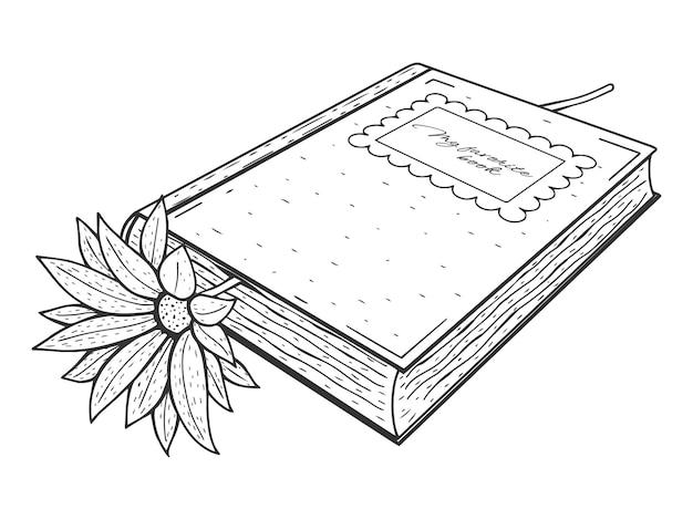 Hand getekende boek met bloem. zwart en wit, monochroom. vector illustratie. geïsoleerd op wit. tatoeage, zeer fijne tekeningen.