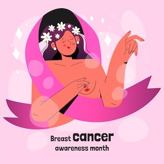 Hand getekende borstkanker bewustzijn maand illustratie