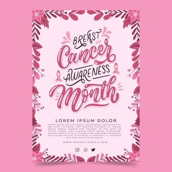 Hand getekende borstkanker bewustzijn maand verticale poster sjabloon