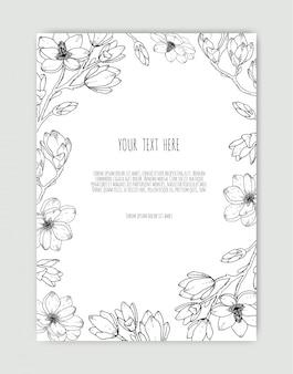 Hand getekende botanische illustraties. hand getekende floristische sjabloon, frame met delicate bloemen, takken, planten.