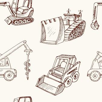 Hand getekende bouwvoertuigen