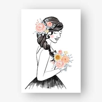 Hand getekende bruid met boeket bloem aquarel illustratie