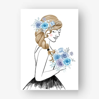 Hand getekende bruid met boeket bloem blauwe aquarel illustratie