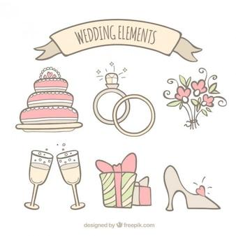 Hand getekende bruiloft accessoire collectie in zachte tinten