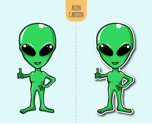 Hand getekende buitenaardse cartoon illustratie met sticker
