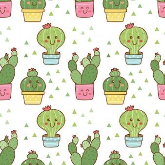 Hand getekende cactus naadloze patroon
