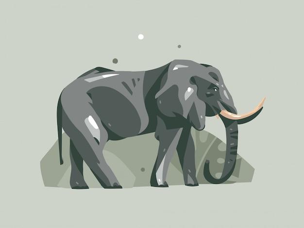 Hand getekende cartoon afrikaanse safari nature concept illustraties met olifant dier