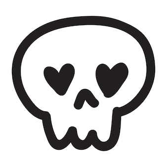Hand getekende cartoon doodle schedel. grappige cartoon schedel geïsoleerd op een witte achtergrond. vector illustratie.