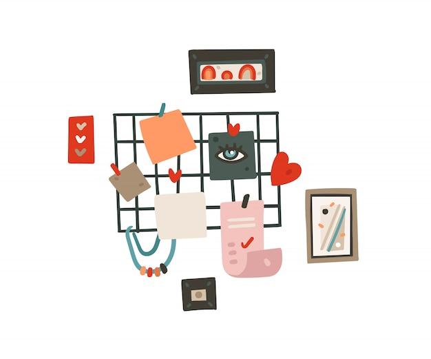 Hand getekende cartoon moderne grafische eenvoudige stijl tekening moodboard en om lijst illustratie geïsoleerd te doen