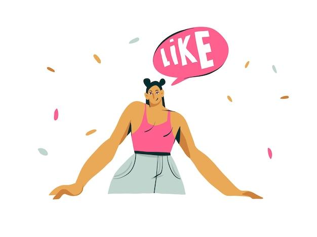 Hand getekende cartoon moderne grafische influencer meisje karakter met tekstballon en houdt van geïsoleerde illustratie kunst