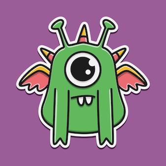 Hand getekende cartoon monster doodle sticker