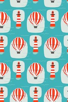 Hand getekende cartoon naadloze patroon met vuurtoren, hete luchtballon en golven van de zee op blauwe achtergrond