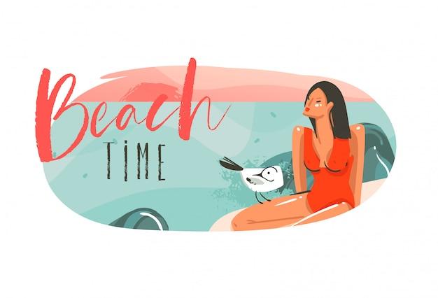 Hand getekende cartoon zomertijd grafische hawaii illustraties kunst sjabloon achtergrond logo met oceaan strand landschap, roze zonsondergang en schoonheid meisje met strand tijd typografie offerte