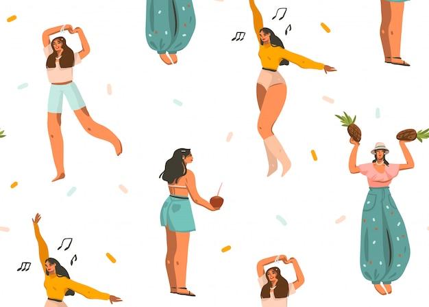 Hand getekende cartoon zomertijd grafische illustraties artistieke naadloze patroon met ontspannende jonge lachende vrouwtjes hebben plezier geïsoleerd