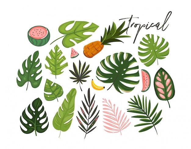 Hand getekende cartoon zomertijd grafische illustraties kunstcollectie set met exotische tropische palmbladeren en watermeloen, banaan en ananas fruit geïsoleerd