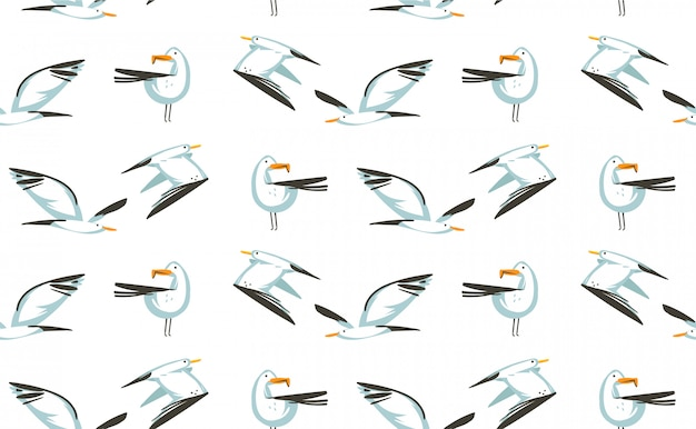 Hand getekende cartoon zomertijd illustraties artistieke naadloze patroon met vliegende meeuwen vogels op strand op witte achtergrond