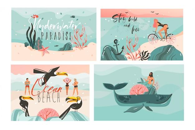 Hand getekende cartoon zomertijd illustraties kaarten sjabloon collectie set met strandmensen, zeemeermin en walvis, zonsondergang en tropische vogels op witte achtergrond