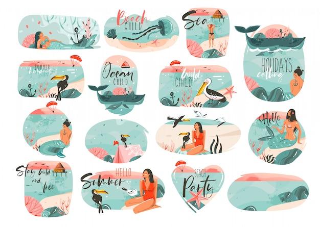 Hand getekende cartoon zomertijd illustraties ondertekenen grote collectie set met meisje, zeemeermin, campingtent, toekan vogels en typografie citaten op witte achtergrond