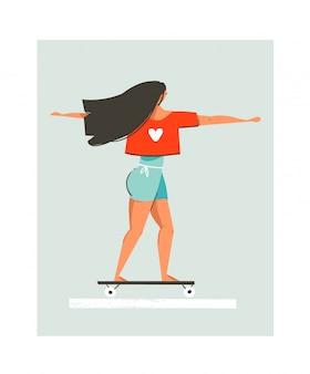 Hand getekende cartoon zomertijd leuke illustratie met jong meisje rijden op longboard op blauwe achtergrond