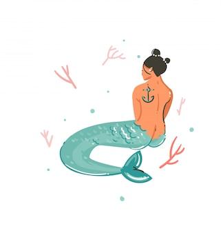 Hand getekende cartoon zomertijd onderwater illustraties met koraalriffen en zeemeermin meisje karakter op witte achtergrond