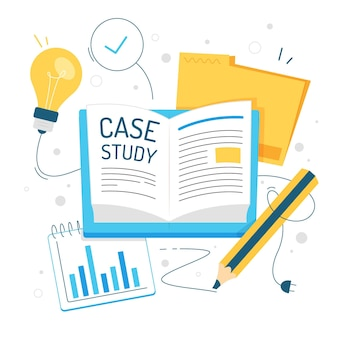 Hand getekende case study illustratie