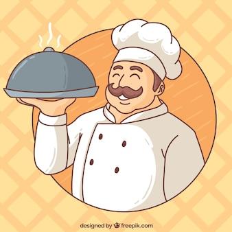 Hand getekende chef-kok achtergrond