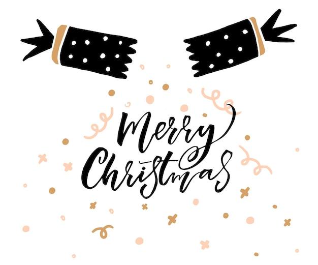 Hand getekende chracker met decoraties en kalligrafie merry christmas bijschrift.