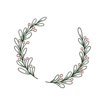 Hand getekende cirkel krans met groene bladeren en rode bessen.