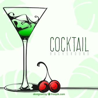 Hand getekende cocktail achtergrond met een kers