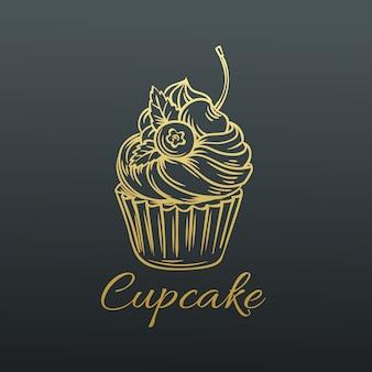 Hand getekende cupcake