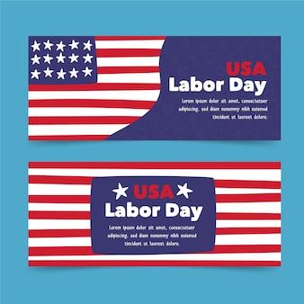 Hand getekende dag van de arbeid banners pack