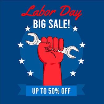 Hand getekende dag van de arbeid verkoop usa