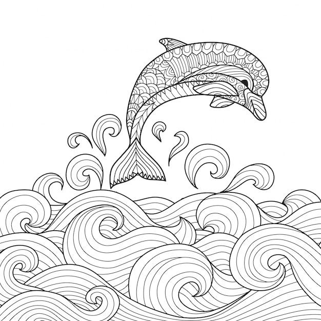 Hand getekende dolfijn achtergrond