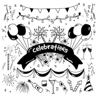 Hand getekende doodle elementen ingesteld voor feestvieren.