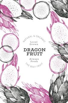 Hand getekende draak fruit ontwerpsjabloon. biologische vers voedsel illustratie. retro pitaya fruit