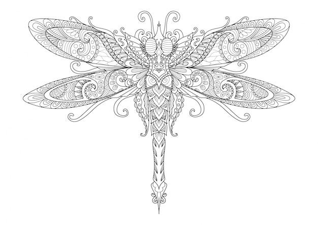 Hand getekende dragonfly