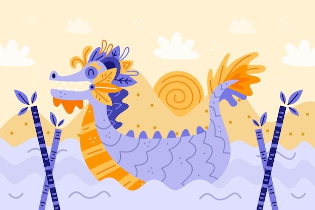 Hand getekende drakenboot achtergrond