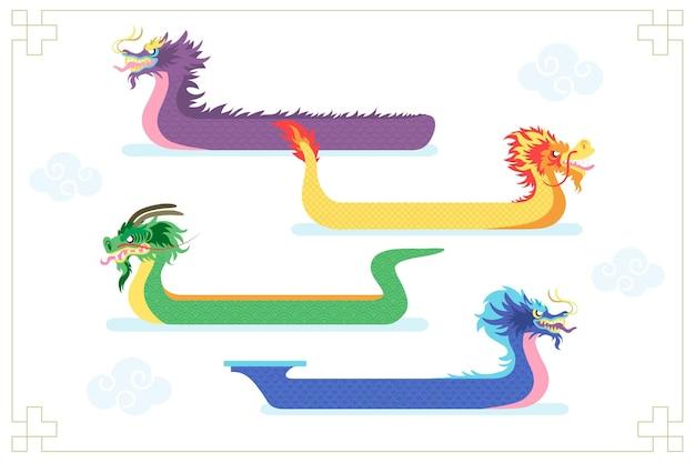 Hand getekende drakenboot collectie