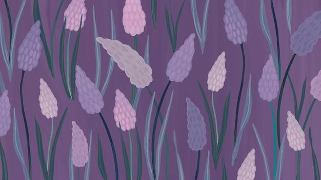 Hand getekende druif hyacint patroon achtergrond