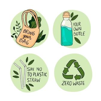 Hand getekende ecologie badges