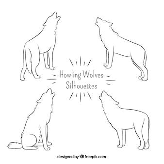 Hand getekende eenvoudige wolven silhouetten