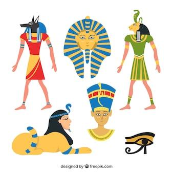 Hand getekende egypte symbolen en goden