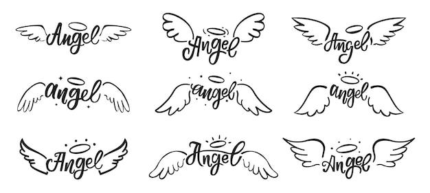 Hand getekende engelenvleugels doodles heilige engelachtige veren tatoeage met belettering set