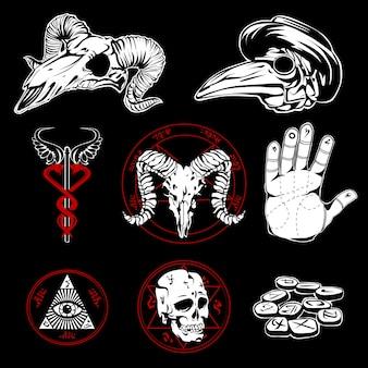Hand getekende esoterische symbolen en occulte attributen