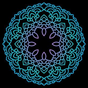 Hand getekende etnische abstracte muurschildering kleurovergang gekleurde mandala geïsoleerd op zwart voor gebruik in ontwerp t-shirt, kaart, uitnodiging, boek, album, poster, brochures, notebook enz