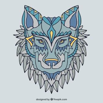 Hand getekende etnische wolf achtergrond