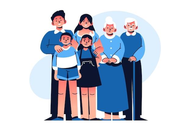 Hand getekende familie illustratie