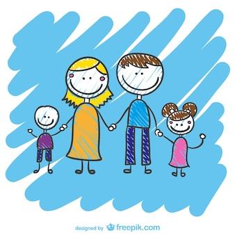 Hand getekende familie vector